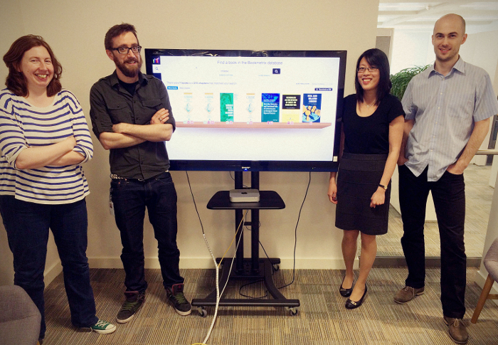 The team at Altmetric. From left to right: Louise Hills, Matt MacLeod, Jean Liu, and Jakub Pawlowicz.