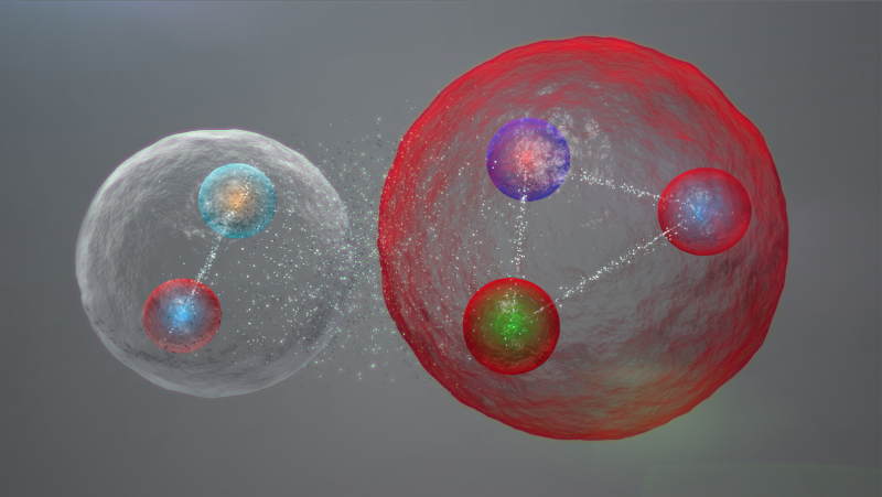 Possible layout of the quarks in a pentaquark particle. Image: Daniel Dominguez. Source: CERN press release.