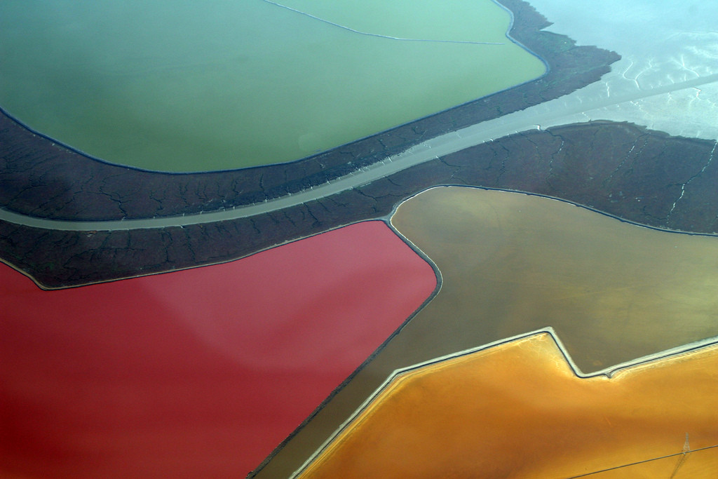 Changing our landscape. Salt evaporation ponds formed by salt water impounded within levees in former tidelands on the shores of San Francisco Bay. Bacteria change the color of the water. Image credit: Doc Searls, Flickr.com.
