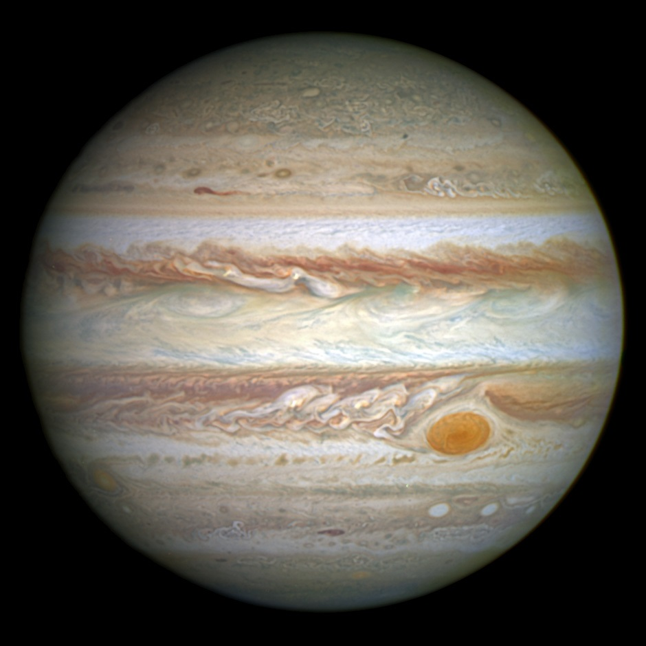 Jupiter. Image credit: NASA, ESA, and A. Simon (Goddard Space Flight Center).