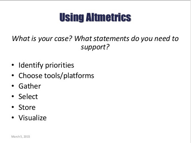 "A slide from ""Altmetrics for Team Science"" by Coates & Miller (2015)"
