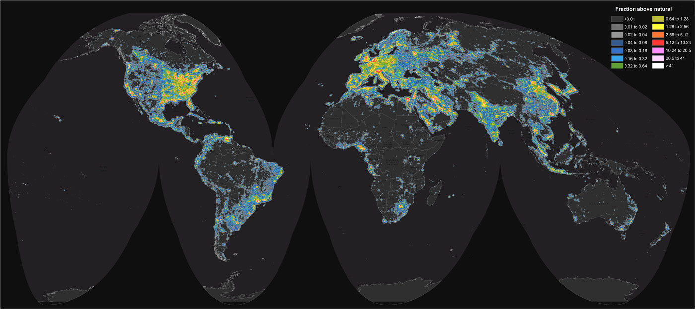 Image: World map of artificial sky brightness. Source: Figure 2 from Falchi et al. 2016.
