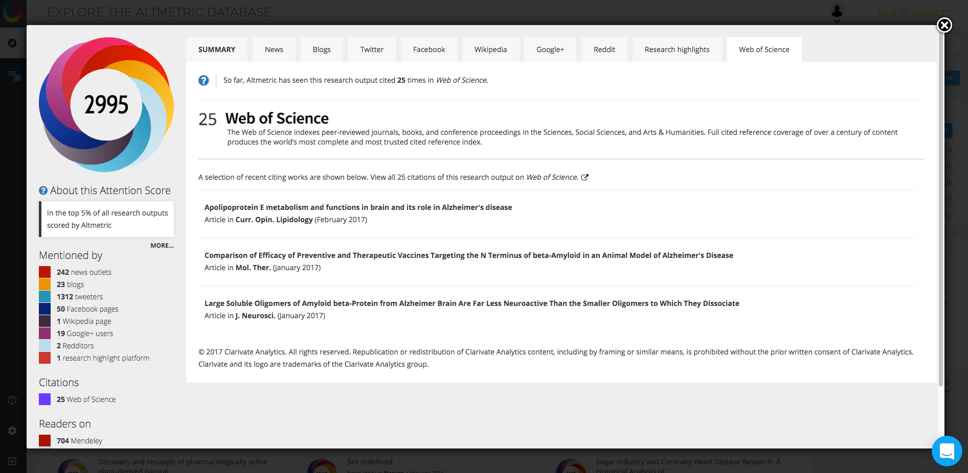 Web of Science - Press Release Screenshot