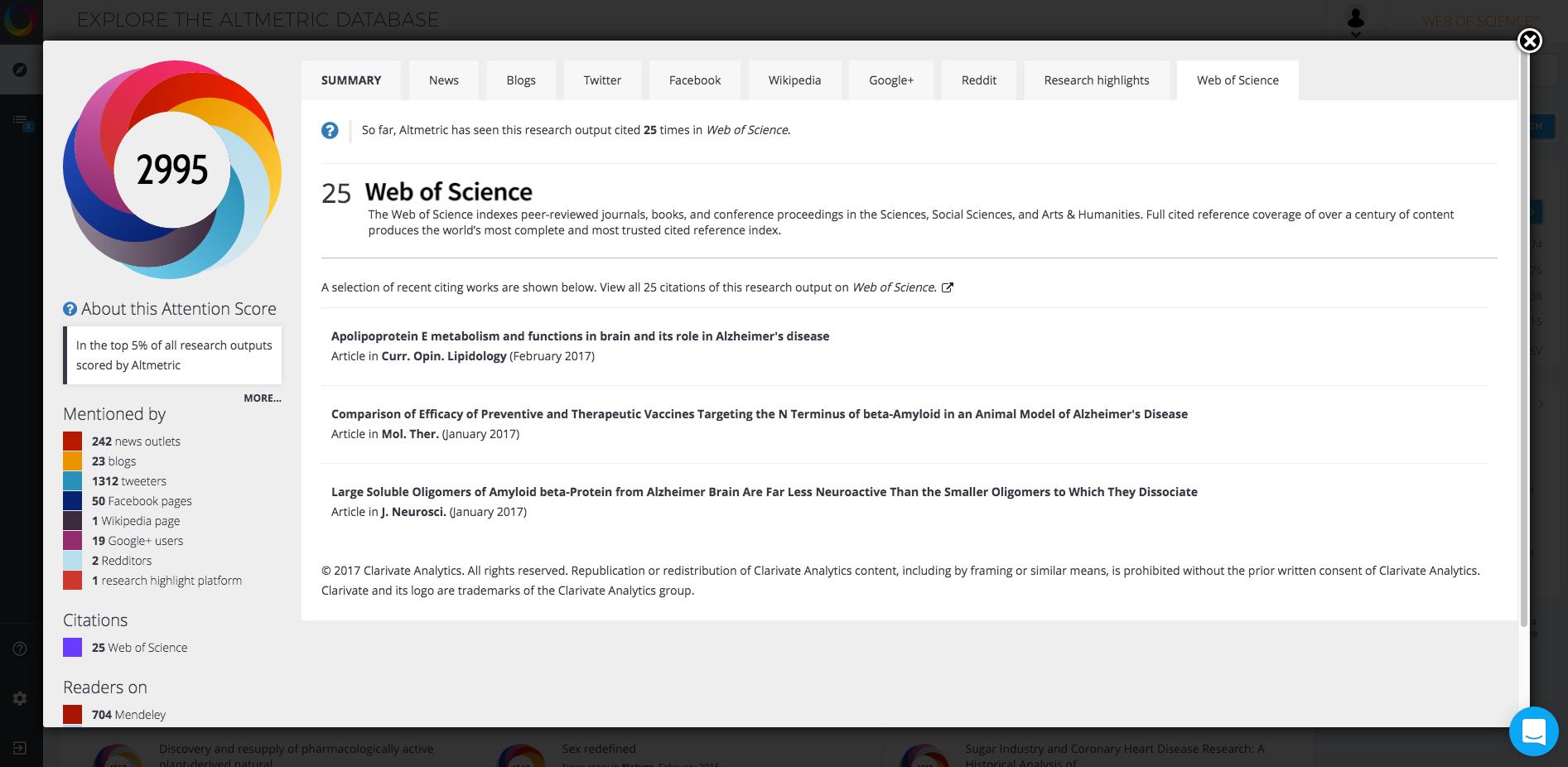 Web of Science - Press Release Screenshot