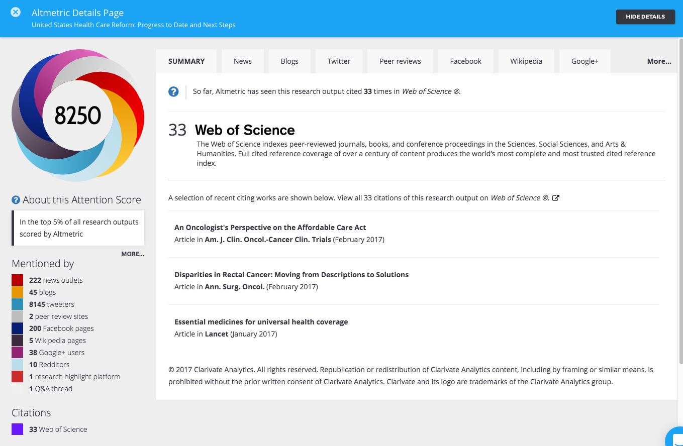 Web of Science Integration in Altmetric